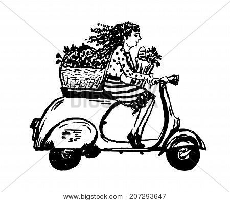 drawing girl with black curly hair rides a moped, sketch, hand-drawn vector illustration