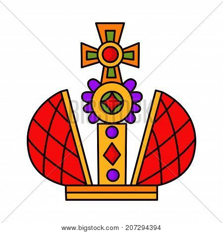 Doodle colorful royal king crown vector icon