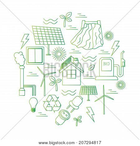 Vector set of simple eco related line icons. Contains icons for different types of electricity generation: wind generators, solar panels, biofuel, hydropower, thermal energy. Print or infographics