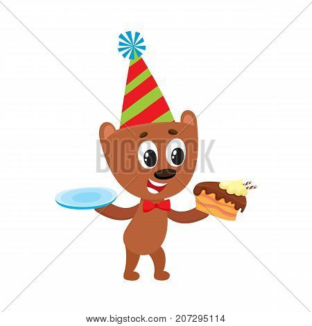 vector flat cartoon cheerful brown bear character eating piece of cake wearing party hat and bowtie happily smiling. isolated illustration on a white background. Animals party concept