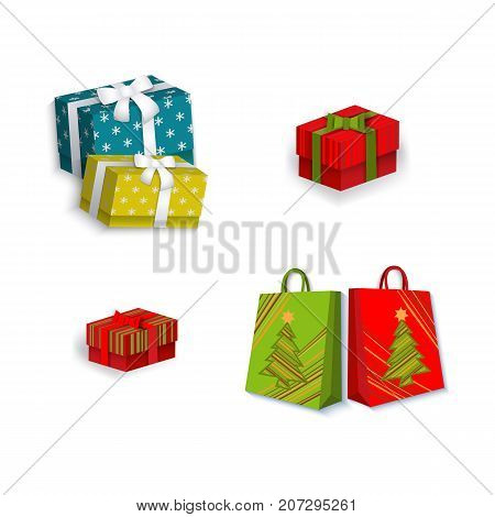 vector flat present gift glossy paper shopping bag with christmas tree image, square box presents with white ribbon and bow set. Isolated illustration on a white background. Winter sybols concept