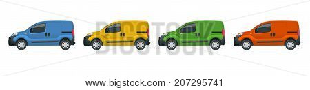 Small Van Car. Isolated car, template for car branding and advertising. Side view. Change the color in one click. All elements in groups on separate layers