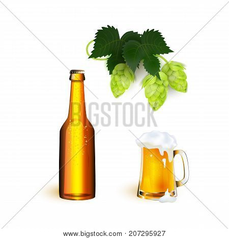 vector realistic full mug, bottle of golden lager cool beer with thick white foam mockup and hop cone with leaves. Ready for your design product packaging. Isolated illustration on a white background.