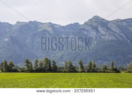 Switzerland August 2017 the mountains in Switzerland high mountains majestic mountains mountain ranges forest in the mountainsmountain village