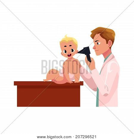 Young man doctor, pediatrician checking baby, infant ear with otoscope, cartoon vector illustration isolated on white background. Male doctor, pediatrician, otolaryngologist checking baby ear