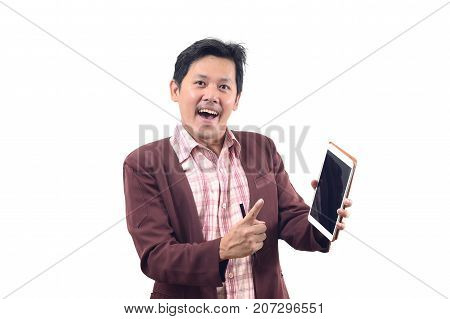 Crazy Businessman Holding Tablet In Suggest Emotion Isolate On White Background