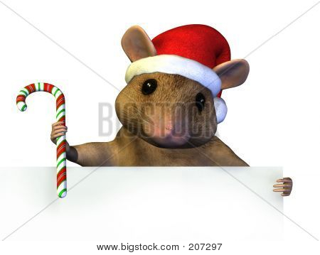 Christmas Mouse With Sign Edge