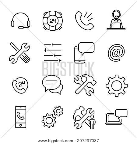 Simple collection of technical support related line icons. Thin line vector set of signs for infographic, logo, app development and website design. Premium symbols isolated on a white background.