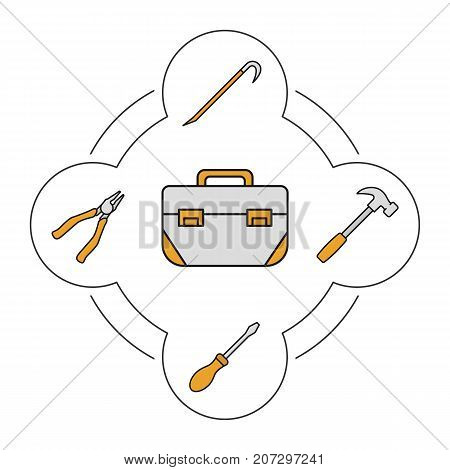 Tool box contents color icons set. Construction tools. Pliers, crowbar, screwdriver, hammer. Isolated vector illustrations