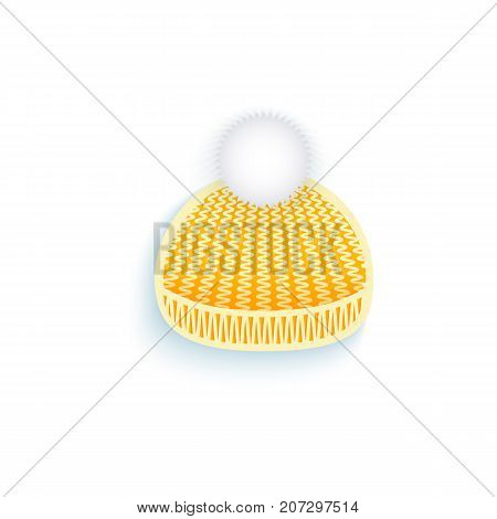 vector flat knitted winter cap with pompon. Isolated illustration on a white background. Winter sybols concept