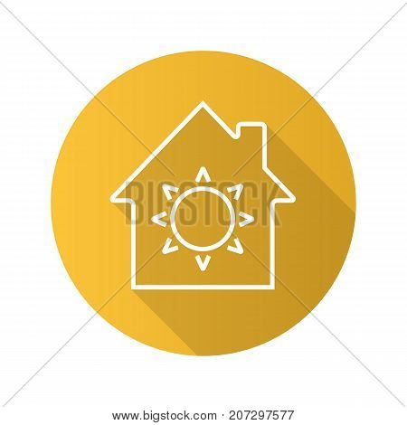 House eco electrification flat linear long shadow icon. House with sun inside. Vector outline symbol
