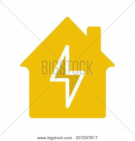 Home electrification glyph color icon. Electric utilities. House with lightning bolt inside. Silhouette symbol on white background. Negative space. Vector illustration