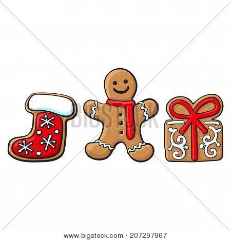 Set of glazed gingerbread, present box, Santa boot gingerbread cookies, sketch vector illustration isolated on white background. Christmas glazed gingerbread cookies - gingerbread, village house, boot