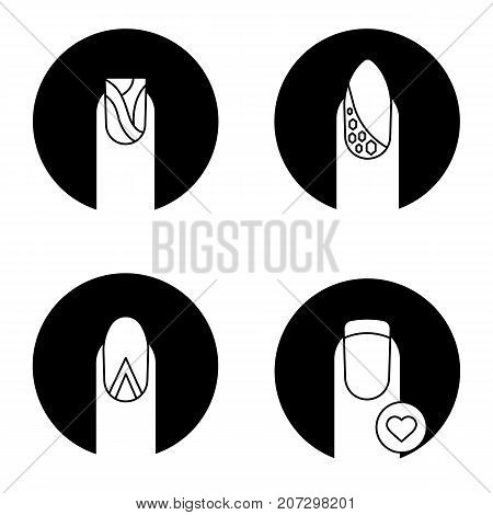 Manicure types glyph icons set. Water marbling, geometric moon manicure, nails with rhinestones and heart shape. Fingernails care. Vector white silhouettes illustrations in black circles