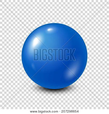 Blue lottery, billiard, pool ball. Snooker. Transparent background. Vector illustration.
