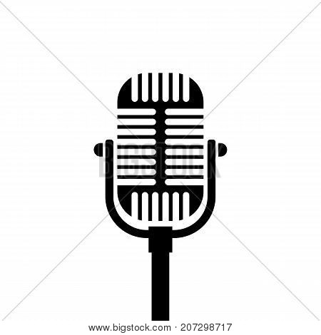 Old microphone icon. Black minimalist icon isolated on white background. Microphone simple silhouette. Web site page and mobile app design vector element.