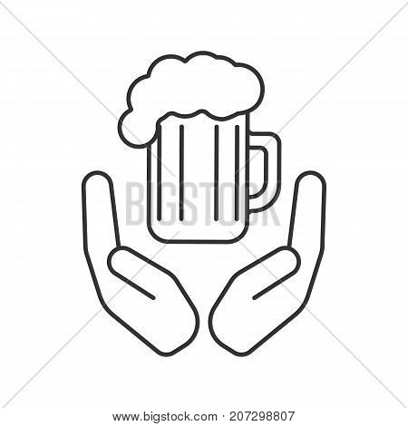 Open palms with beer mug linear icon. Free ale. Thin line illustration. Quality beer. Contour symbol. Vector isolated outline drawing