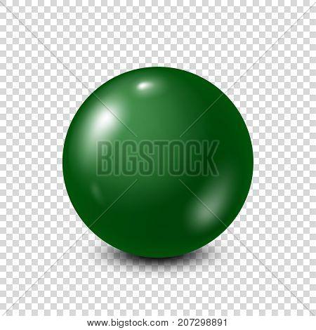 Green lottery, billiard, pool ball. Snooker. Transparent background. Vector illustration.
