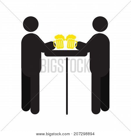 People drinking beer silhouette icon. Alehouse, beerhouse. Pub. Friends meeting. Isolated vector illustration