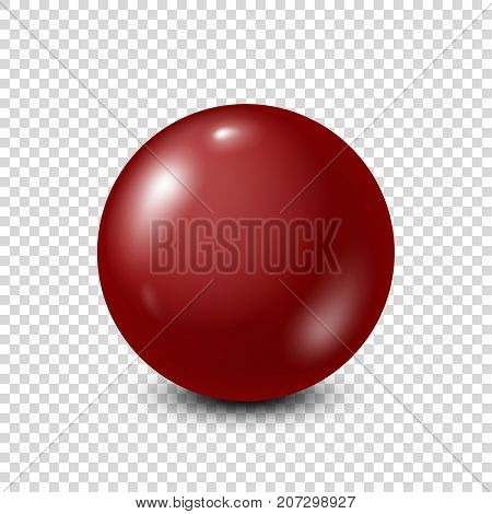 Dark red lottery, billiard, pool ball. Snooker. Transparent background. Vector illustration.