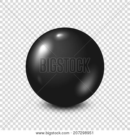Black lottery, billiard, pool ball. Snooker. Transparent background. Vector illustration.