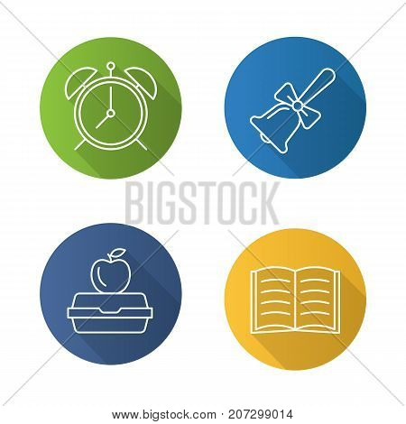 School flat linear long shadow icons set. Alarm clock, school bell, lunch box, open book. Vector outline illustration
