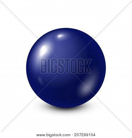 Dark blue lottery, billiard, pool ball. Snooker. White background. Vector illustration.
