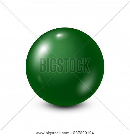 Green lottery, billiard, pool ball. Snooker. White background. Vector illustration.