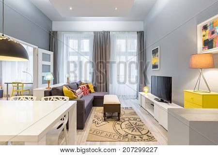 Contemporary Interior With Large Sofa