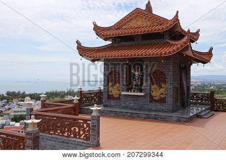 Ninh Thuan, Viet Nam , September 31, 2017: Trung Son Co Tu Pagoda, Biggist pagoda in Ninh Thuan, Viet Nam
