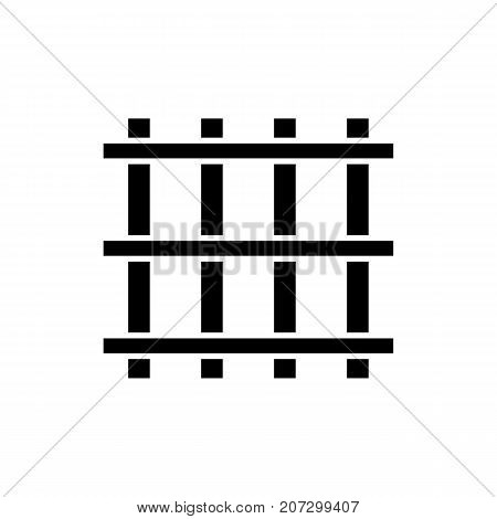 Prison bars icon. Black minimalist icon isolated on white background. Prison grid simple silhouette. Web site page and mobile app design vector element.