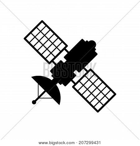 Satellite icon. Black minimalist icon isolated on white background. Satellite simple silhouette. Web site page and mobile app design vector element.