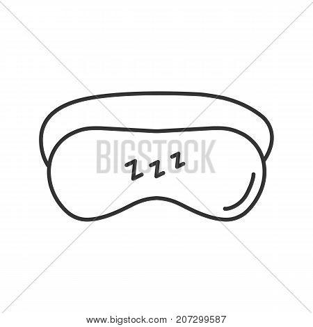 Sleeping mask linear icon. Dense bandage on eyes. Thin line illustration. Contour symbol. Vector isolated outline drawing