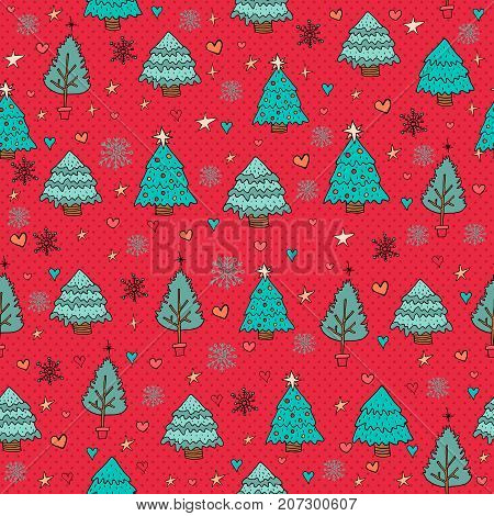 Merry Christmas Pine Tree Winter Doodle Background