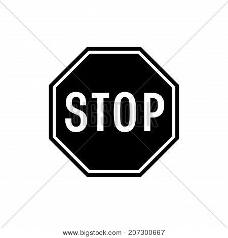 Stop sign icon. Black minimalist icon isolated on white background. Stop sign simple silhouette. Web site page and mobile app design vector element.