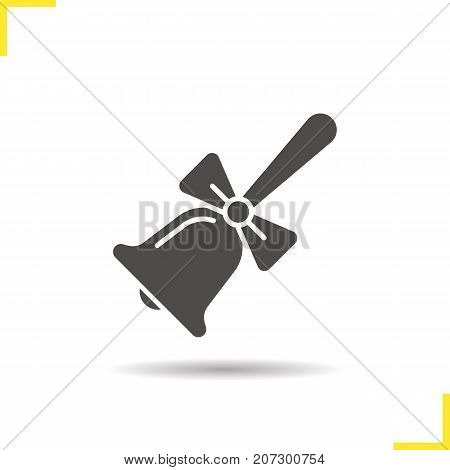 School Bell With Bow Glyph Icon Drop Shadow Silhouette Symbol Negative Space Vector