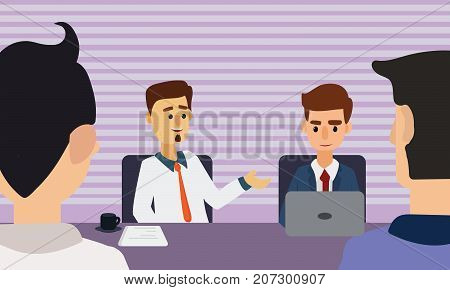 Business people meeting in conference room. Corporate Table Discussion Concept Illustration Vector.