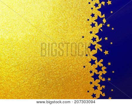 Gold rainbow glitter background with blue stars