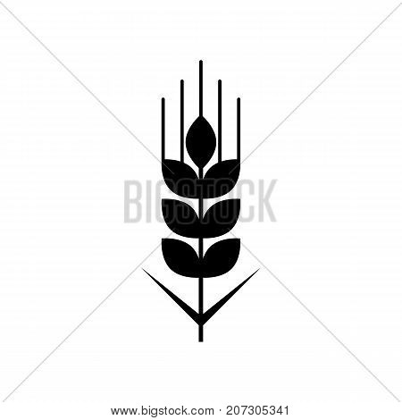 Wheat grain icon. Black minimalist icon isolated on white background. Wheat grain simple silhouette. Web site page and mobile app design vector element.