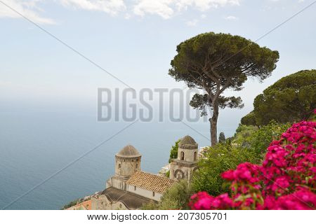 Ravelo resort city at Amalfi coast in Southern Italymountain resort city near sea