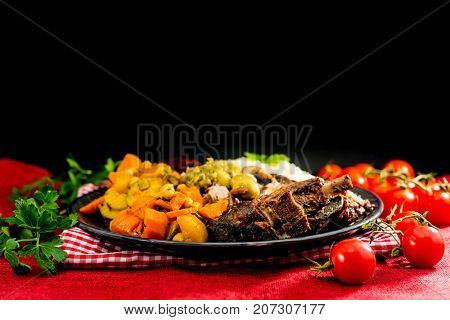 traditional moroccan dish couscous salad with Sausage