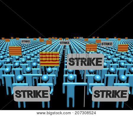 Crowd of people with Catalan flags and strike signs 3d illustration