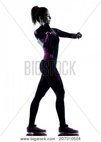 one young caucasian woman runner running jogger jogging taking pulse isolated silhouette shadow on white background