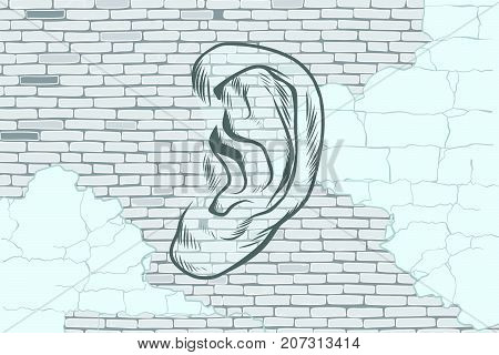 ear graffiti tattoo silhouette on a background old walls. Pop art retro vector vintage illustrations