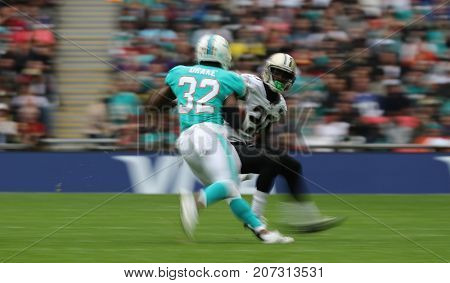 LONDON, ENGLAND - OCTOBER 01 2017:  during the NFL match between the Miami Dolphins and the New Orleans Saints at Wembley Stadium in London, United Kingdom.