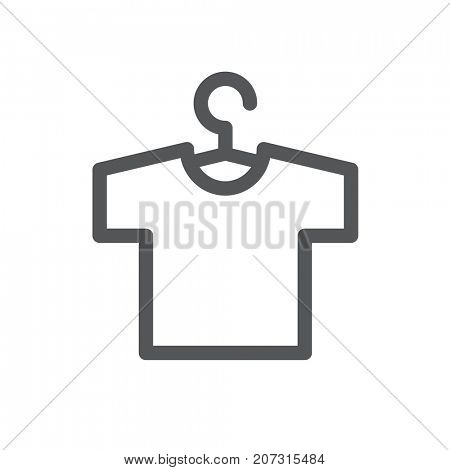 T-shirt with hanger icon isolated on white background