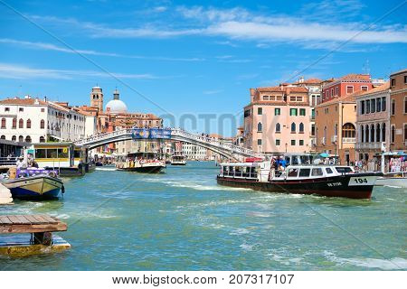 VENICE,ITALY - JULY 25,2017 : Vaporetti at the Grand Canal in Venice on a summer day