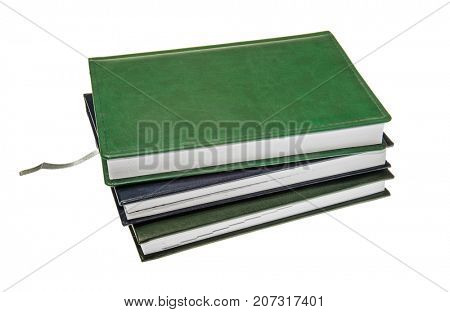 Stacked diary books learning in class or back to school. Work path