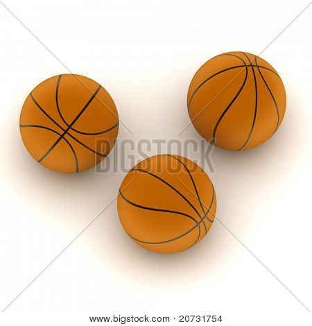 three sport balls isolated on withe