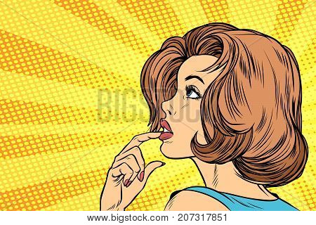 Beautiful woman face thinking. Pop art retro vector illustration